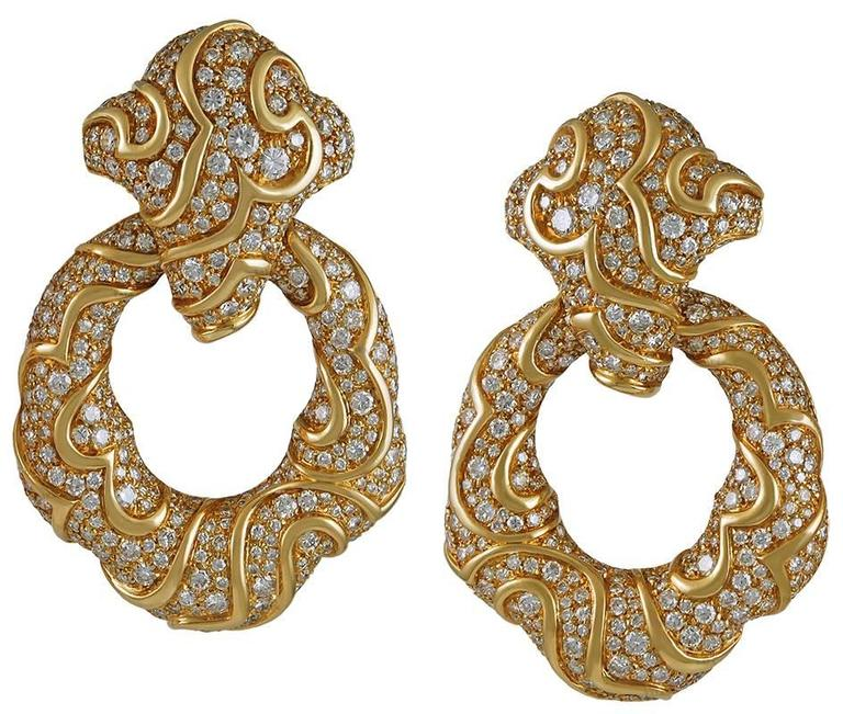 "1980s Marina B Diamond Gold ""Onda"" Doorknocker Earrings"