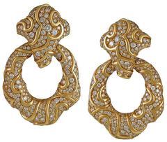 """1980s Marina B Diamond Gold """"Onda"""" Doorknocker Earrings"""