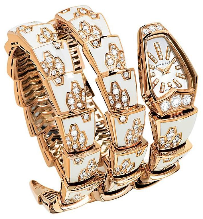 Bulgari Ladies Yellow Gold Diamond Mother of Pearl Serpenti Quartz Wristwatch