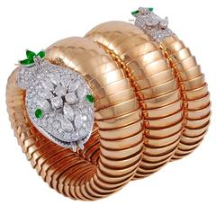 Bulgari Serpenti Emerald Diamond Gold Watch