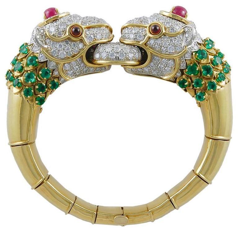 David Webb Diamond Emerald Ruby Lion Bracelet