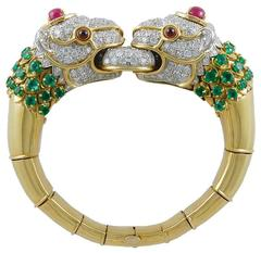 David Webb Diamond Emerald Ruby Lion Bracelet