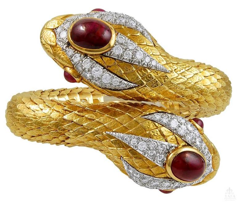 David Webb Cabochon Ruby Diamond Gold Snake Bangle For