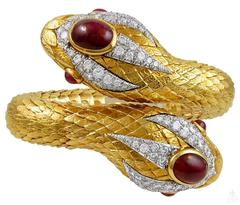 David Webb  Cabochon Ruby Diamond Gold Snake Bangle