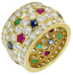 Cartier Nigeria Diamond, Ruby, Sapphire and Emerald Band Ring