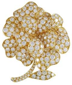 Van Cleef and Arpels Diamond Flower Brooch