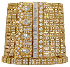 Wide Diamond Gold Manchette Cuff Bracelet