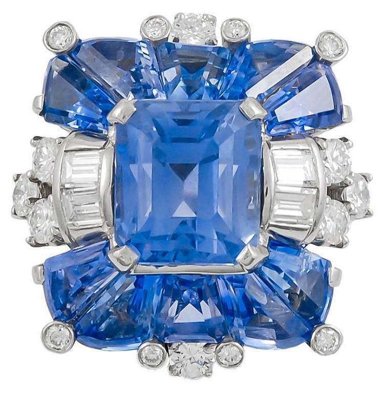 Oscar Heyman and Brothers Sapphire Diamond Ring at 1stdibs