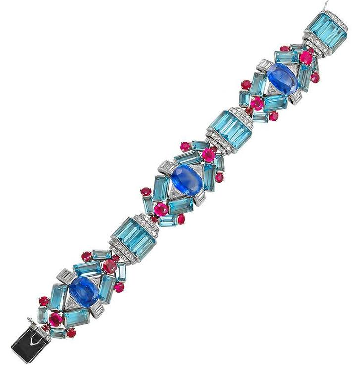 1930s Aquamarine Sapphire Ruby Diamond Platinum Bracelet