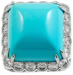 David Webb Turquoise Diamond platinum Ring
