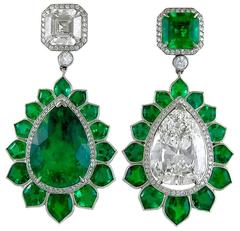 Emerald Diamond platinum Pendant Earrings