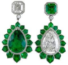 Emerald Diamond platinum Pendant Earrings