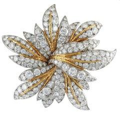 Van Cleef & Arpels Diamond Gold Floral Brooch