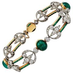 Belle Epoque Boucheron Paris Cabochon Emerald and Diamond Bracelet