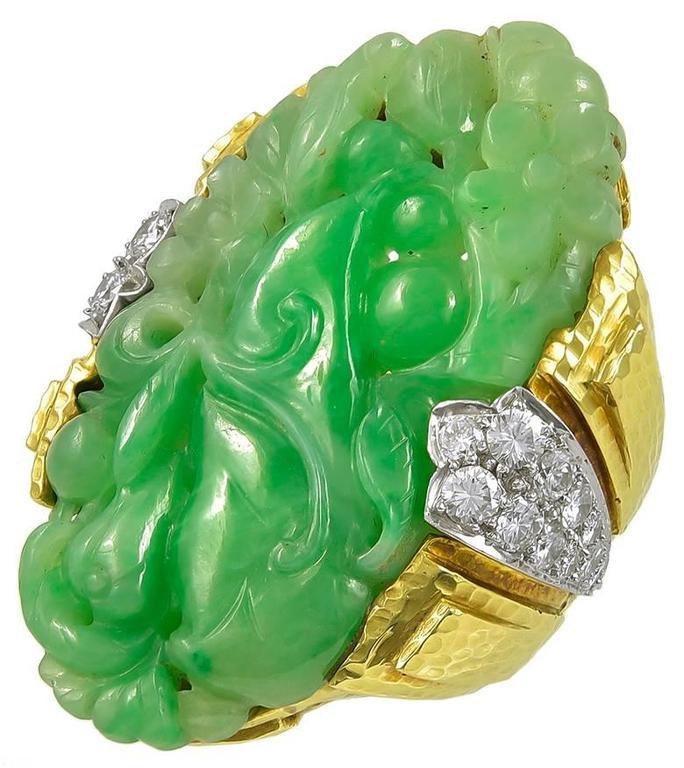 1970s Jade Diamond Gold Cocktail Ring 2