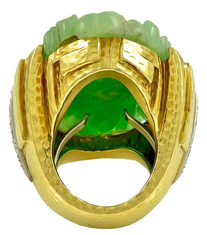 1970s Jade Diamond Gold Cocktail Ring 3
