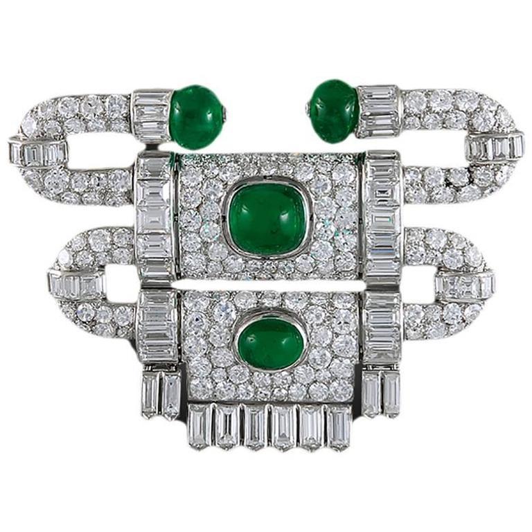 Art Deco Van Cleef & Arpels Emerald Diamond Platinum Brooch For Sale