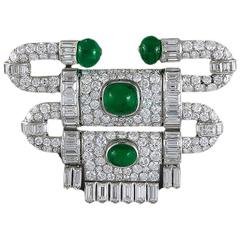 Art Deco Van Cleef & Arpels Emerald Diamond Platinum Brooch