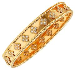 Van Cleef & Arpels Diamond Perlee Bangle Bracelet