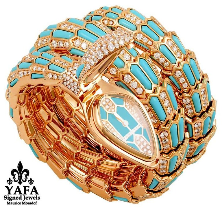 Bulgari Diamond Turquoise Serpenti Secret Quartz Wristwatch 2