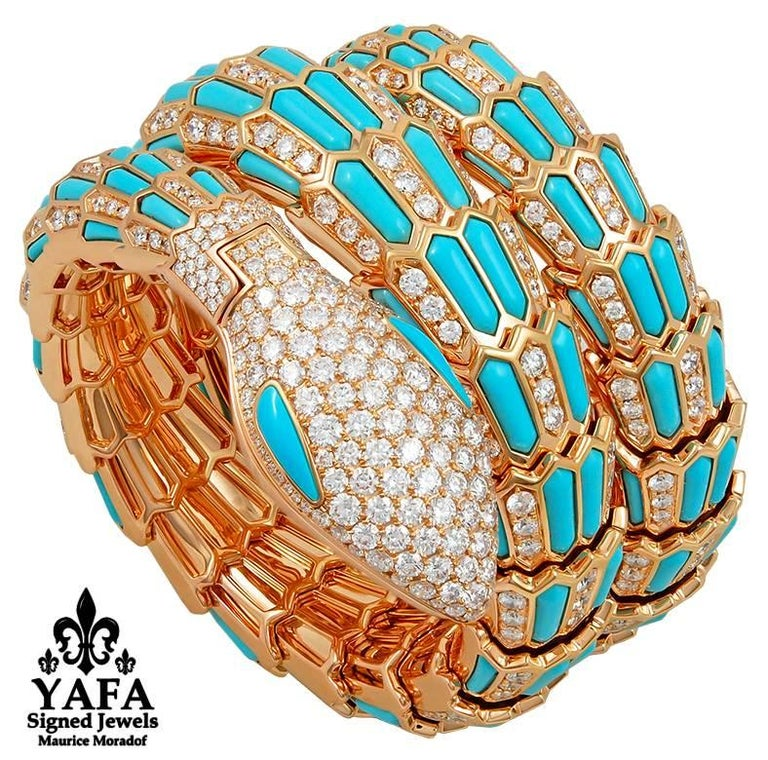 Bulgari Diamond Turquoise Serpenti Secret Quartz Wristwatch 4
