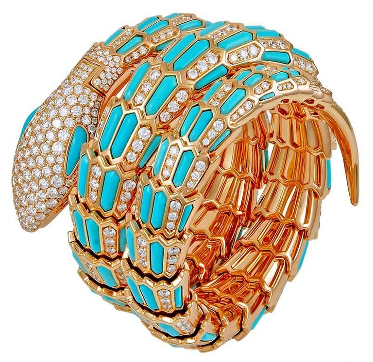 Bulgari Diamond Turquoise Serpenti Secret Quartz Wristwatch 1