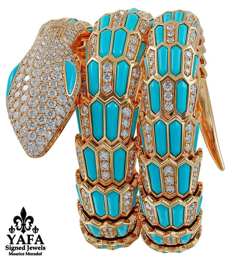 Bulgari Diamond Turquoise Serpenti Secret Quartz Wristwatch 3