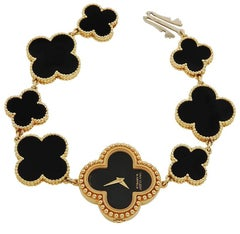 Van Cleef & Arpels yellow gold Onyx Alhambra Bracelet Wristwatch