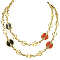 Bulgari Coral and Onyx Long Necklace