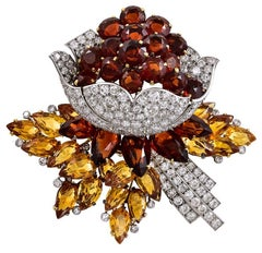 Cartier Diamond and Citrine Flower Brooch
