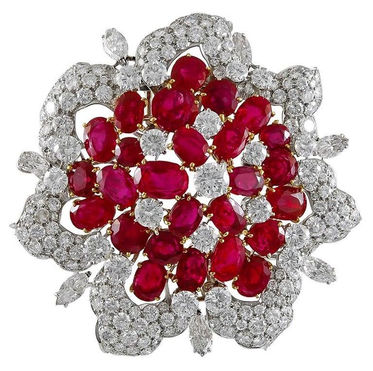 Bulgari Diamond and Burma Rubies Brooch For Sale