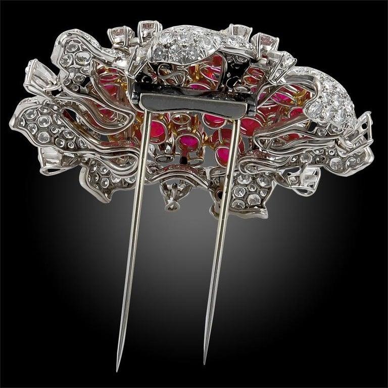 Women's Bulgari Diamond and Burma Rubies Brooch For Sale