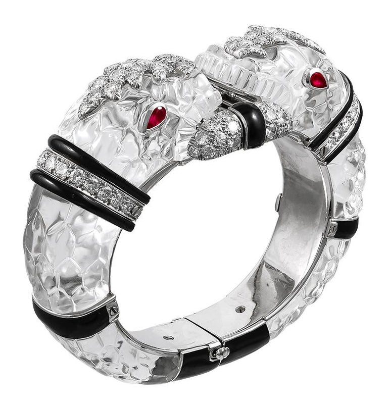 David Webb Diamond, Carved Crystal, Black Enamel Chimera Bangle