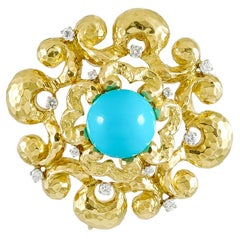 David Webb Diamond, Turquoise Brooch Pendant