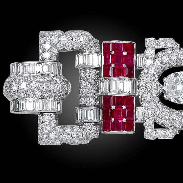 Art Deco Important 1930s Van Cleef & Arpels Diamond and Ruby Bracelet For Sale