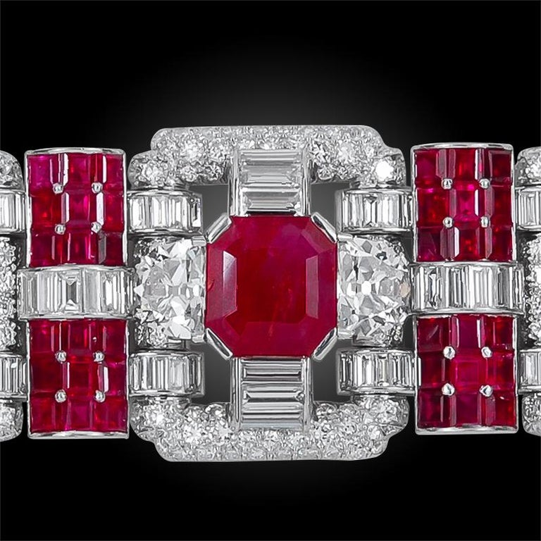 Women's Important 1930s Van Cleef & Arpels Diamond and Ruby Bracelet For Sale