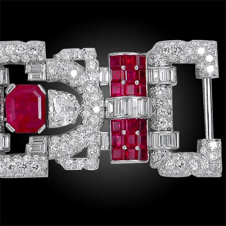 Important 1930s Van Cleef & Arpels Diamond and Ruby Bracelet For Sale 1