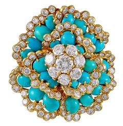 Van Cleef & Arpels  Cabochon Turquoise Diamond Camelia Brooch