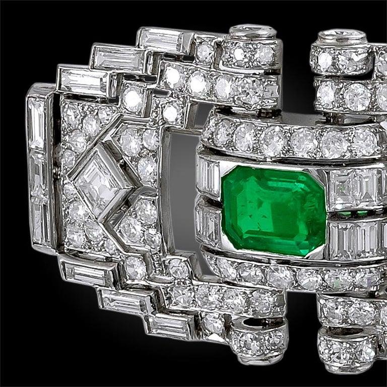 Art Deco Mauboussin Diamond Emerald Brooch For Sale