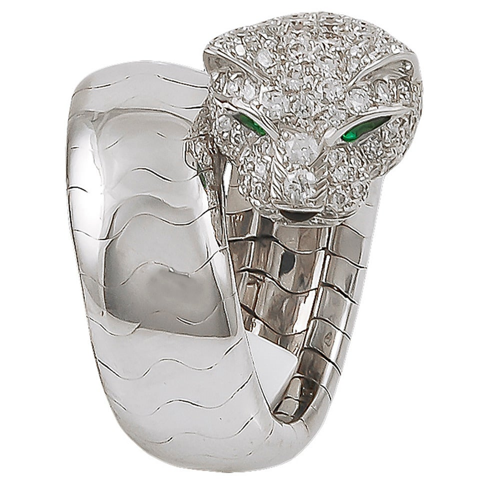 Cartier Panthere Emerald Diamond Ring