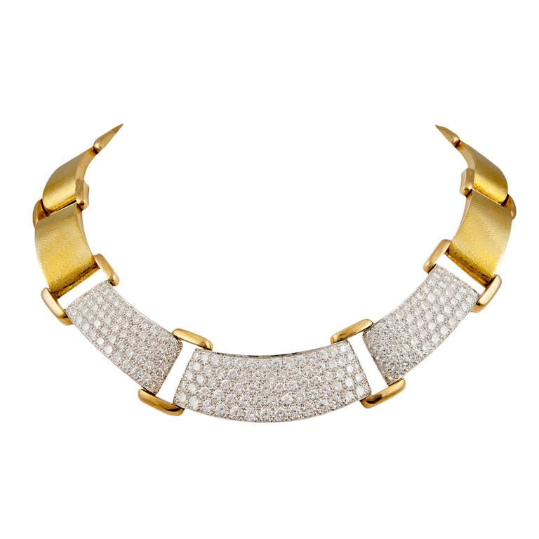 David Webb Gold Diamond Necklace
