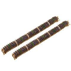 Van Cleef & Arpels Sapphire Emerald Diamond Bracelets