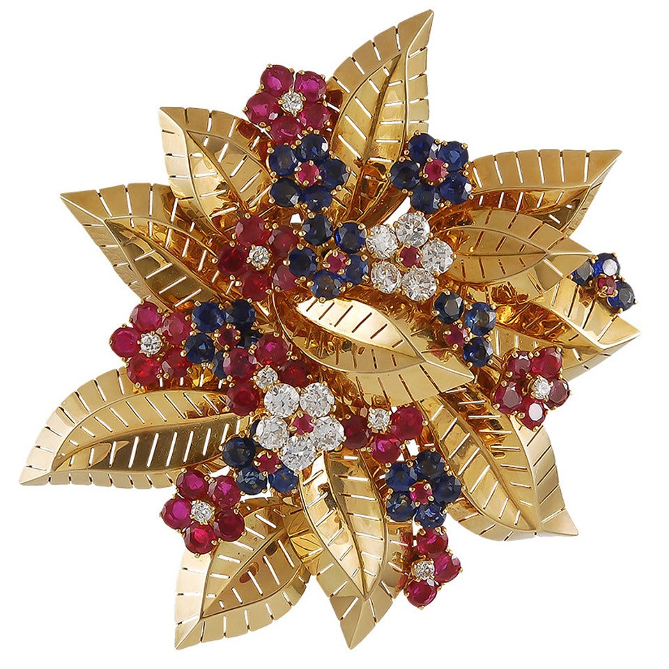 Van Cleef & Arpels Ruby Sapphire Diamond Gold Flower Brooch