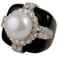 David Webb Pearl Diamond Ring