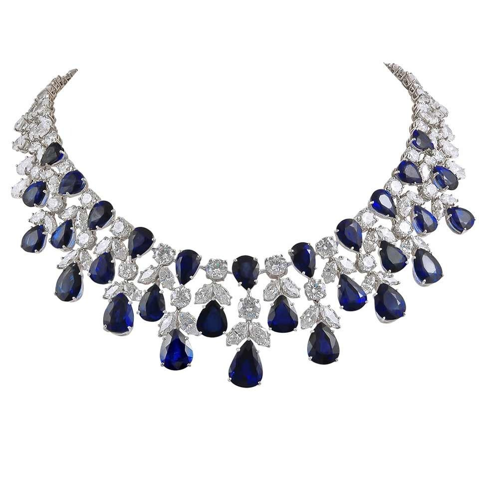 graff sapphire diamond platinum necklace at 1stdibs. Black Bedroom Furniture Sets. Home Design Ideas