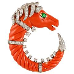 David Webb Coral Emerald Diamond Gold Horse Brooch