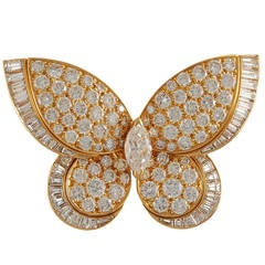 Van Cleef & Arpels Diamond Gold Butterfly Brooch