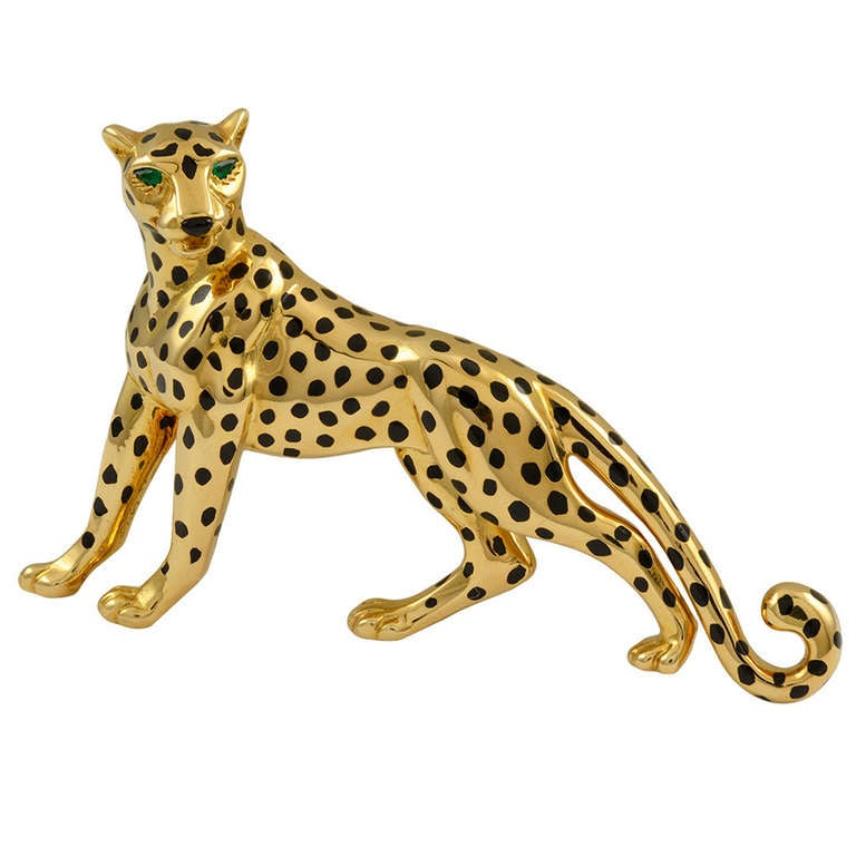 Cartier Onyx Emerald Gold Panther Brooch At 1stdibs