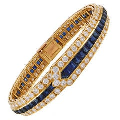 Van Cleef & Arpels Sapphire Diamond Gold Bracelet