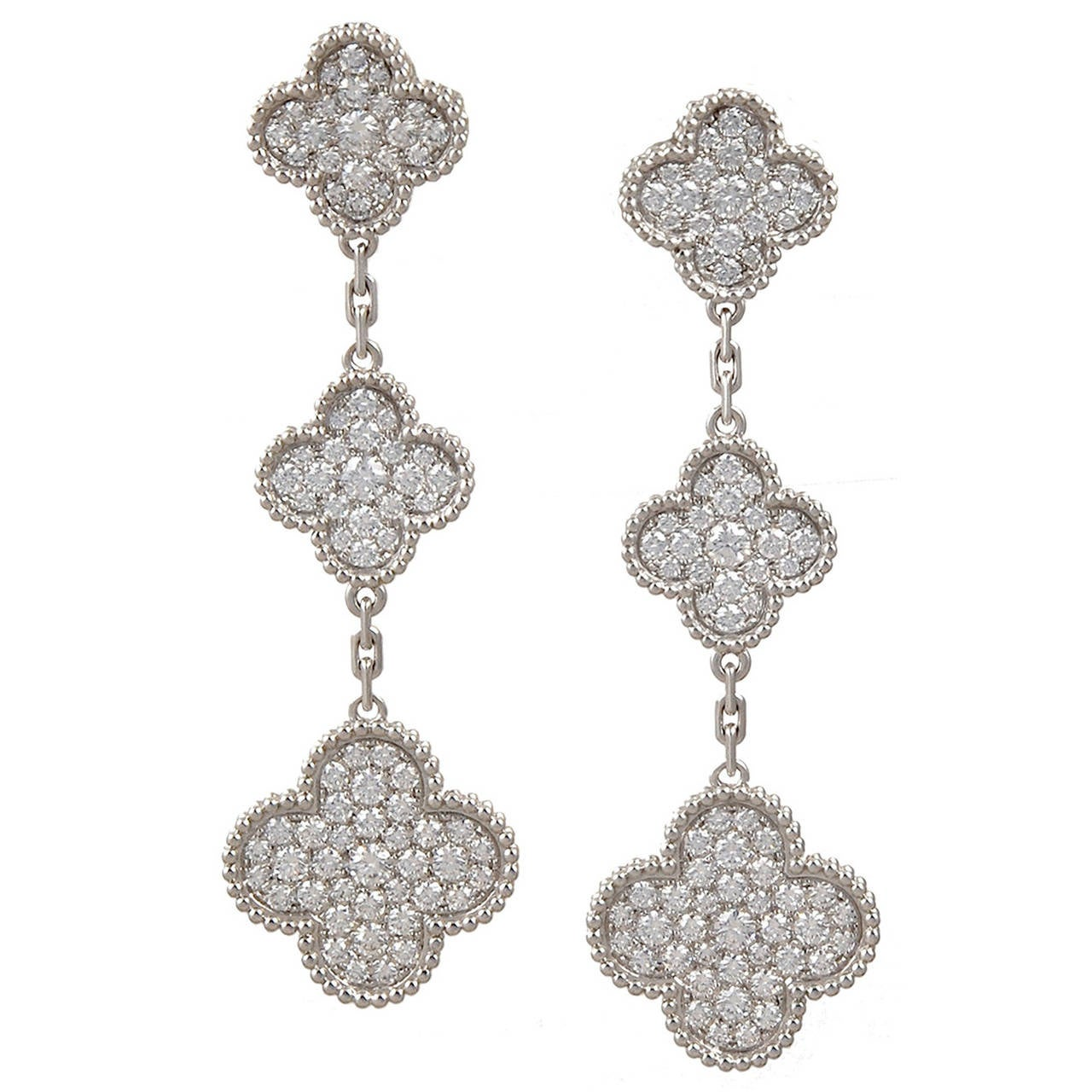 van cleef and arpels diamond gold magic alhambra earrings